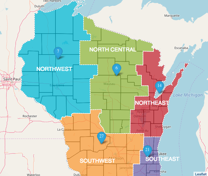 Map of Wisconsin construction projects